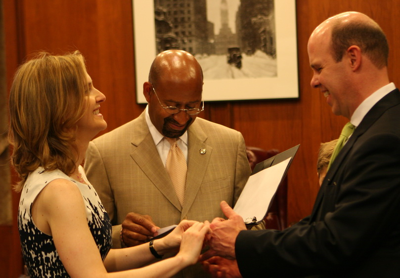 Mayor Nutter performing a ceremony